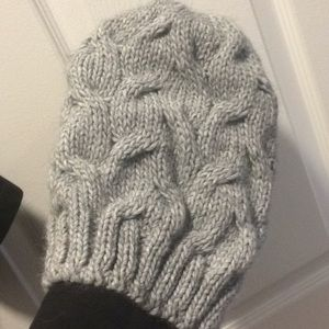 Grey knit slouch beanie